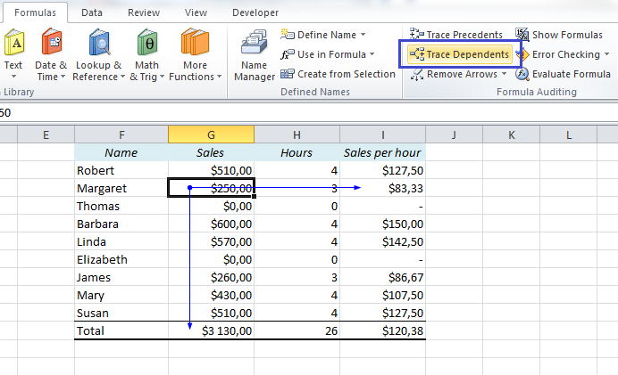 EasyExcel_16_Trace Dependents