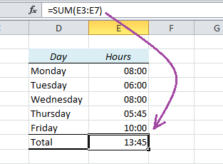 EasyExcel_17_1_Summarize Hours in Excel
