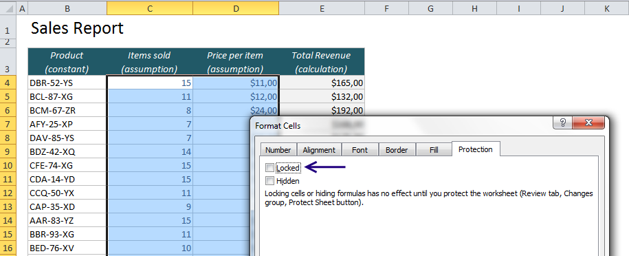 EasyExcel_26_2_Protect cells in Excel