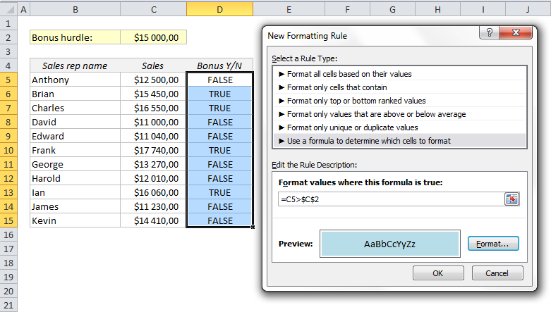 Boolean logic in Excel: TRUE/FALSE instead of IF functions