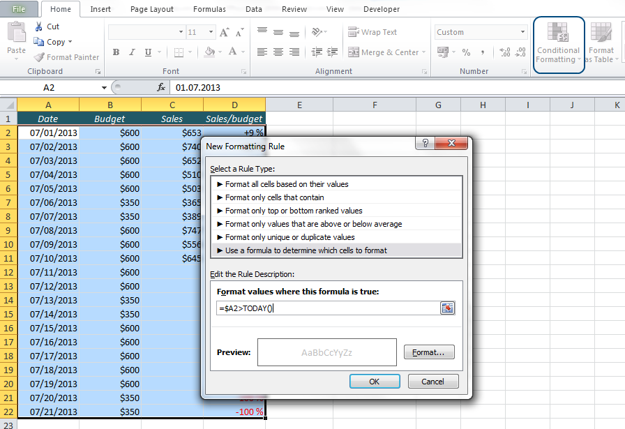 EasyExcel_35_2_Hide future dates in Excel